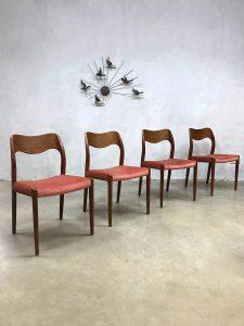 Vintage design dusty pink dining chairs eetkamer stoelen Niels O. Møller