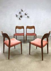 vintage Deens design eetkamerstoelen stoel dinner chairs Moller model 71 Danish
