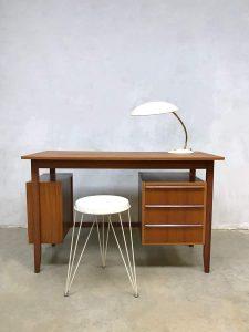 Midcentury modern vintage writing desk teak bureau Deense stijl