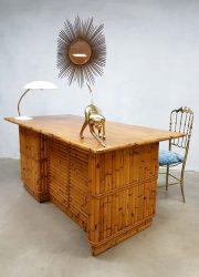 midcentury modern bamboo office desk bamboe bureau Tiki style vintage retro design