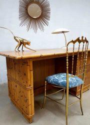 Vintage bamboo rattan writing desk bamboe rotan bureau Tiki style