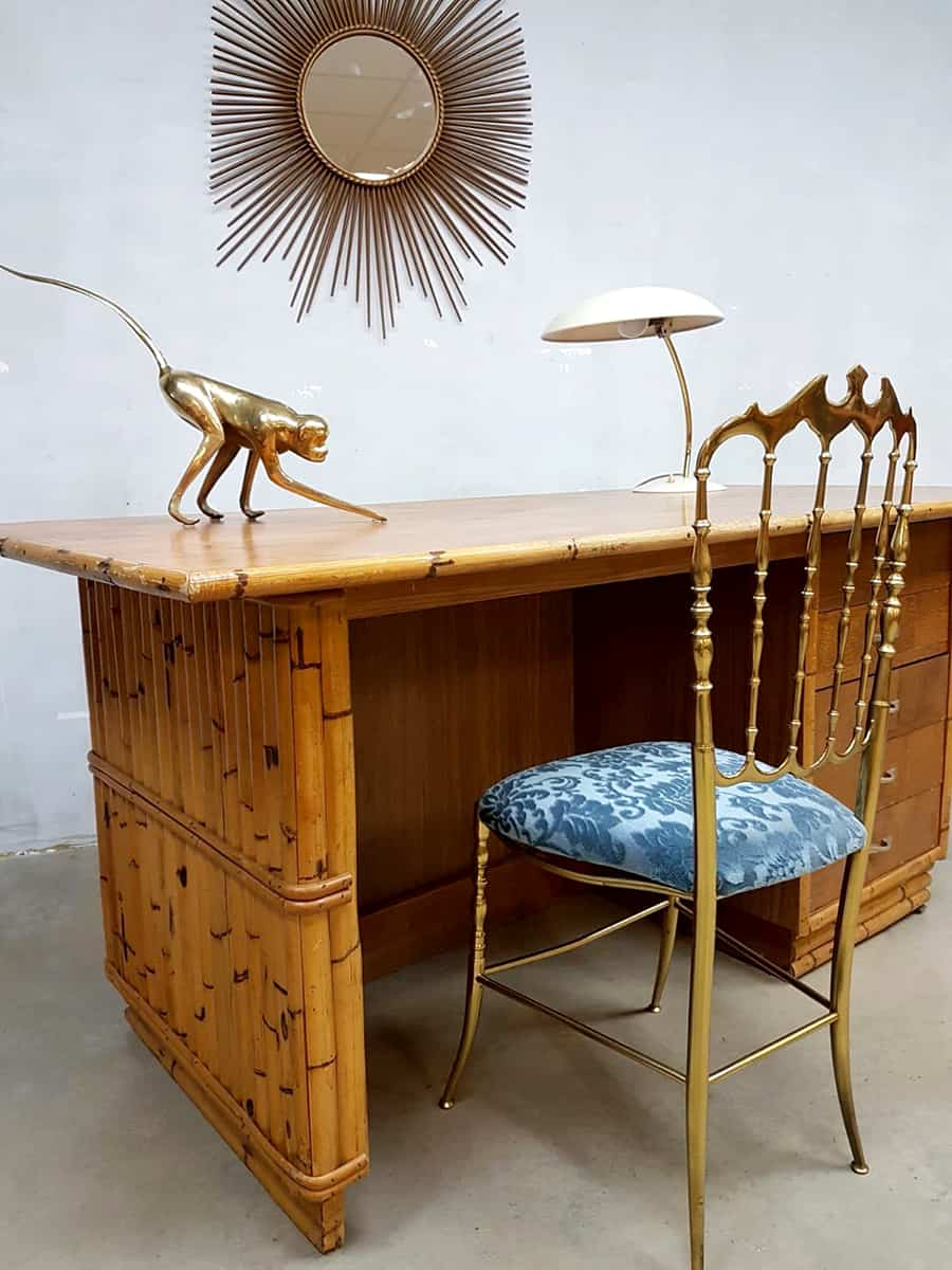 Sensational Vintage Bamboo Office Desk Bamboe Bureau Tiki Style Gmtry Best Dining Table And Chair Ideas Images Gmtryco