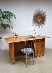 Vintage bamboo office desk bamboe bureau Tiki style