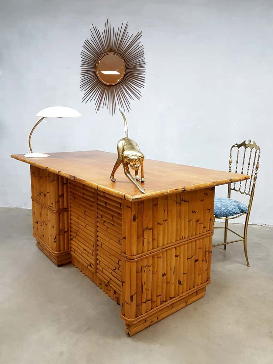 Groovy Vintage Bamboo Office Desk Bamboe Bureau Tiki Style Gmtry Best Dining Table And Chair Ideas Images Gmtryco