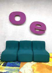 Vintage kids lounge bankje game bank sixties kids sofa 'minimalism'