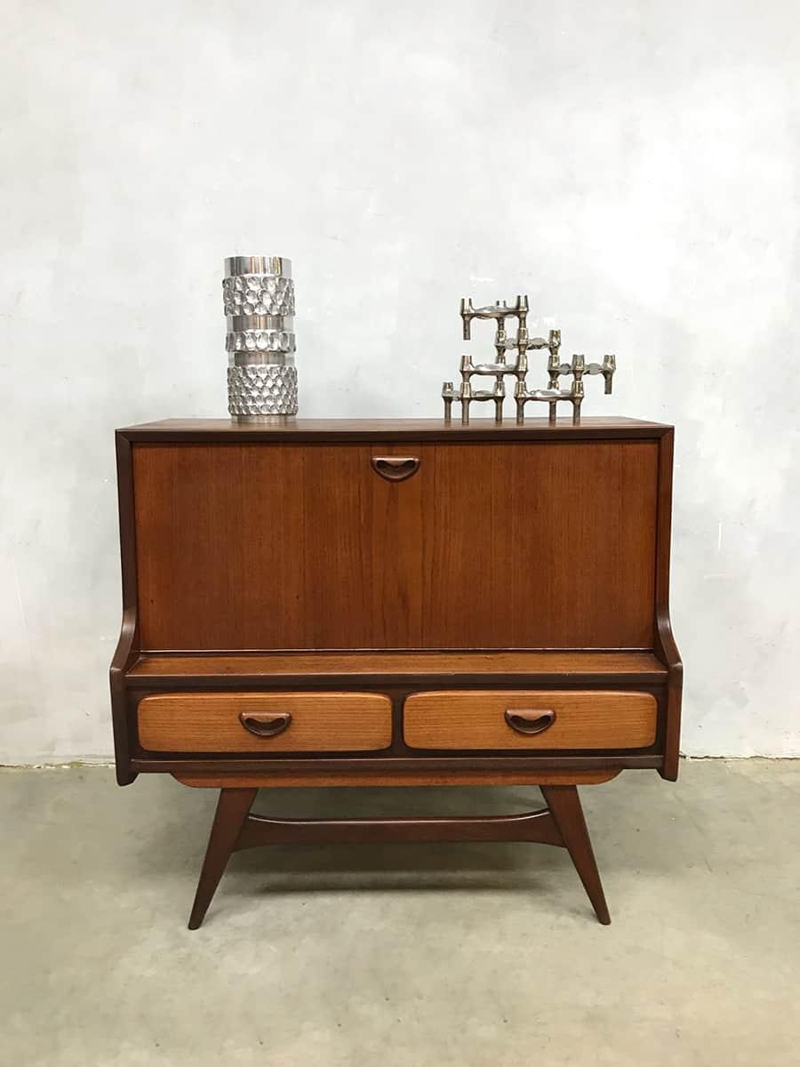 Vintage teakhouten bar kast cabinet louis van teeffelen w b for Teakhouten kast