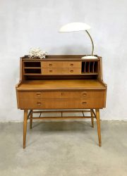 vintage zweeds teakhouten bureau secretaire Scandinavish buro midcentury design desk
