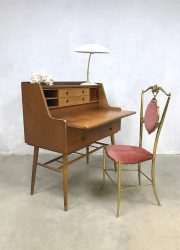 vintage deens teakhouten bureau secretaire Scandinavish buro midcentury design desk