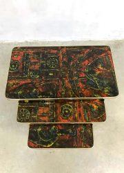 midcentury vintage retro bijzettafel nesting tables mimiset Italian design