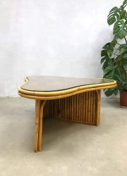 Tropical vintage bamboe salontafel boomerang bamboo coffee table