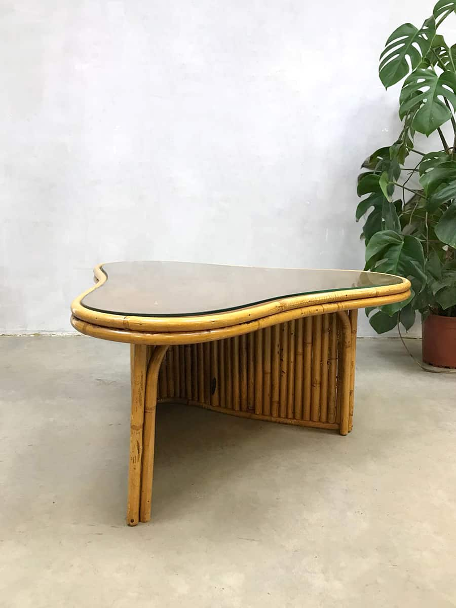 Bamboe Salon Tafel.Tropical Vintage Bamboe Salontafel Boomerang Bamboo Coffee Table