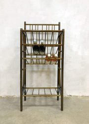 Vintage midcentury modern wooden & brass wine bottle rack wijnrek