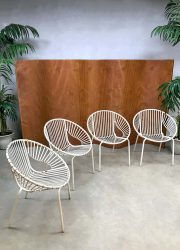 Vintage industrial wire balloon chairs tuinstoelen outdoor gardenset