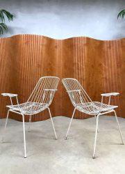 vintage tuinstoelen draadstoelen wire chairs armchairs outdoor garden chairs Erlau
