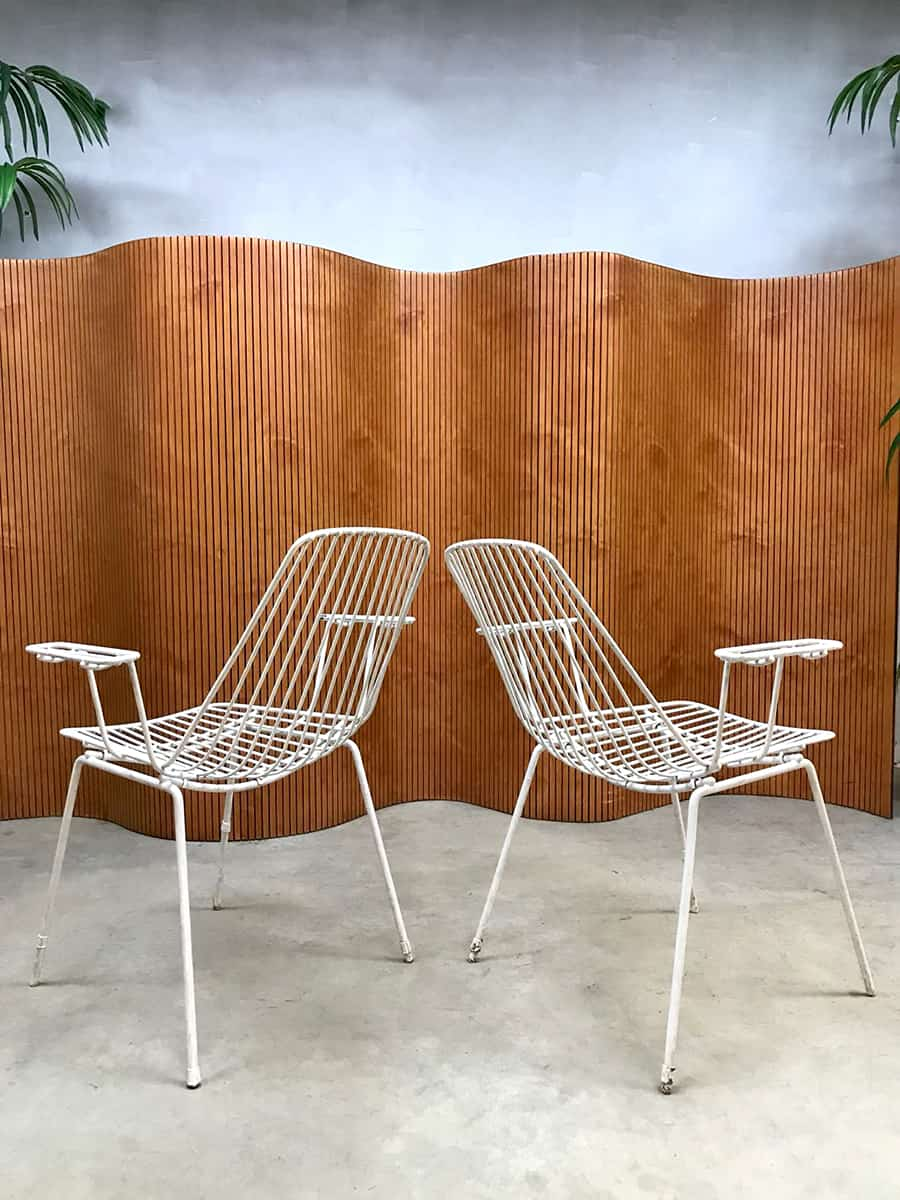 Vintage Tuinstoelen Draadstoelen Wire Chairs Armchairs