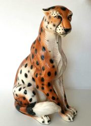 Italiaanse vintage keramische tijger Italian ceramic tiger cheetah