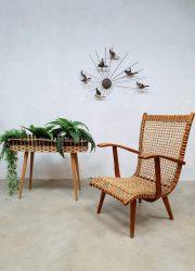 vintage retro plantenbak rotan rattan plantstand sixties design