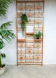 Vintage midcentury modern bamboo room divider wall unit kamerscherm