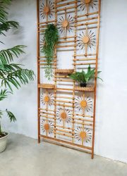 vintage retro wanddecoratie wall unit kamerscherm bamboe rotan bamboo rattan design