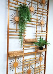 midcentury design art wall sculpture wall decoration roomdivider bamboo sunburst design