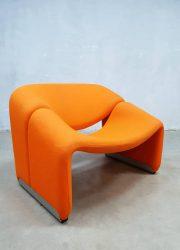 oranje groovy chair Artifort retro vintage design F598 easy chair Pierre Paulin