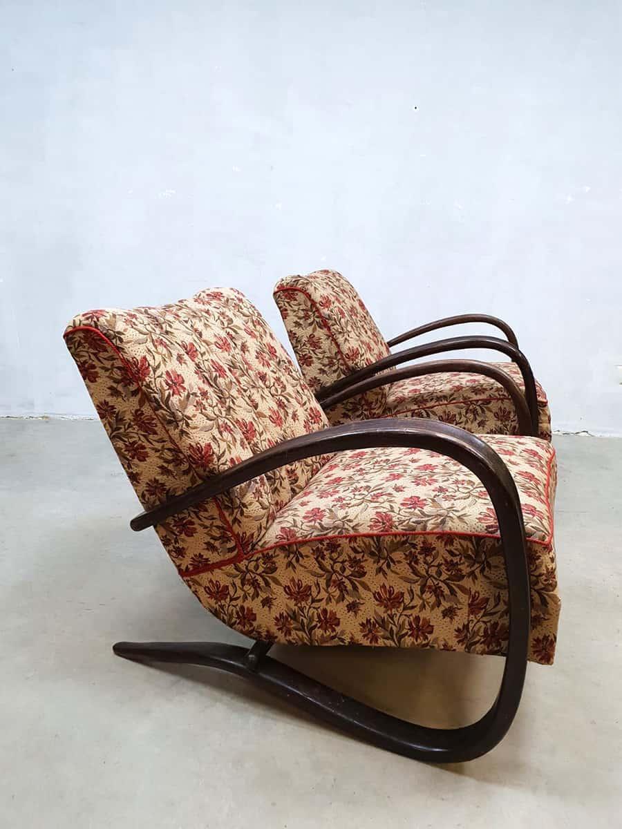 Vintage Art Deco Fauteuil Jindrich Halabala Bentwood Arm