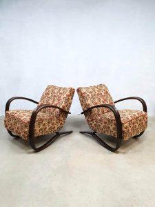 Vintage art deco fauteuil Jindrich Halabala bentwood arm chair Floral