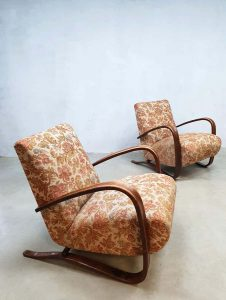 Vintage art deco fauteuils Jindrich Halabala bentwood armchairs H-269