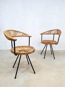Vintage design rotan stoelen Dirk van Sliedregt rattan armchairs Rohe Noordwolde