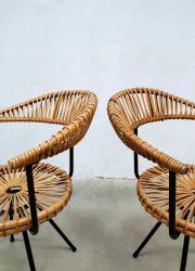 midcentury rattan chair armchair Rohe Noordwolde Sliedregt stoel chair
