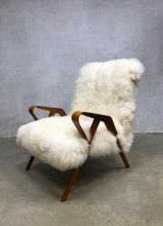 vintage Czech design sheepskin armchair lounge fauteuil Tatra