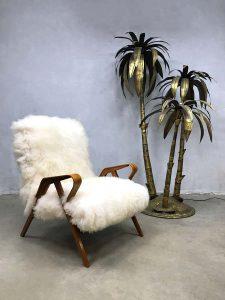 Midcentury design sheepskin armchair lounge fauteuil Tatra