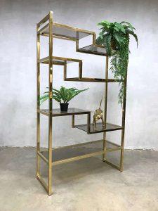 Italian midcentury modern brass wandkast wall unit etagère shelving unit