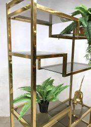 vintage brass cabinet etagere wandkast hollywood recency stijl