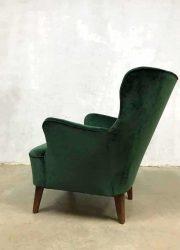midcentury modern arm chair wingback chair green velvet vintage design