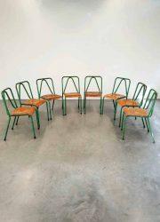 Vintage Industrial Tubax chairs stoelen industrieel 'tropical green'