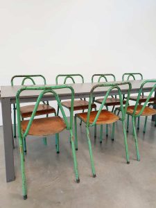 Vintage Industrial Tubax chairs stoelen industrieel 'tropical green'