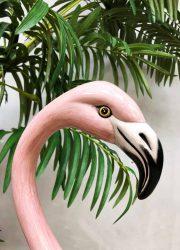 midcentury modern hand painted flamingo keramiek ceramic deco