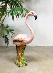 Vintage Italian ceramic statue Flamingo Belle Epoque style deco