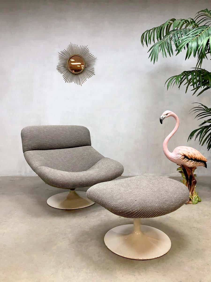 Draai Fauteuil Met Hocker.Vintage Lounge Chair Geoffrey Harcourt Artifort Lounge Fauteuil F518