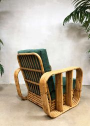 midcentury modern bamboo armchair Paul Frankl style rotan lounge fauteuil bamboe jaren 50