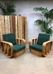 Vintage rattan bamboo armchair bamboe lounge chairs Paul Frankl style