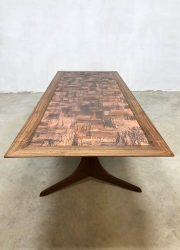 Midcentury Rosewood Danish copper coffee table vintage design salontafel Brutalist
