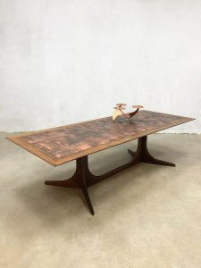 Midcentury copper coffee table vintage design salontafel Brutalist