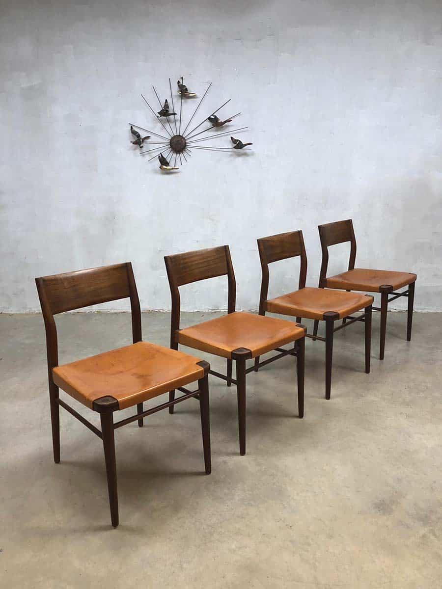 Teak Amp Leather Dining Chairs Eetkamer Stoelen Georg