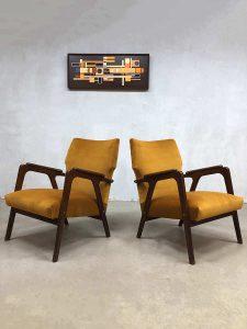 Danish midcentury modern velvet armchairs lounge fauteuils wingback chairs