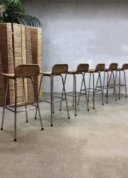Vintage barstools stool barkrukken kruk Dirk v. Sliedregt Rohe Noordwolde Dutch design kruk retro industrieel industrial stool horeca design
