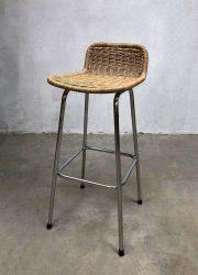 vintage design rotan kruk barkruk Dirk van Sliedregt stool barstool