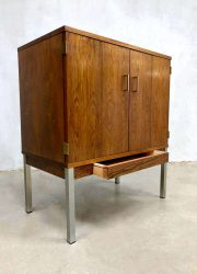 midcentury modern cabinet chrome legs rosewood vintage design kast