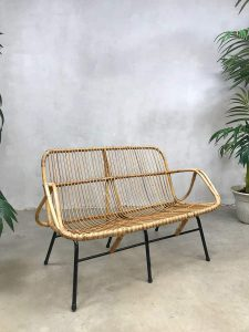 Vintage design rattan sofa bench rotan bank Rohe Noordwolde